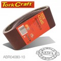 SANDING BELT 65 X 410MM 80 GRIT 10/PACK