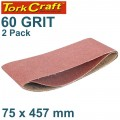 SANDING BELT 75 X 457MM 60GRIT 2/PACK