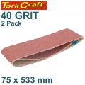 SANDING BELT 75 X 533MM 40GRIT 2/PACK
