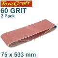 SANDING BELT 75 X 533MM 60GRIT 2/PACK