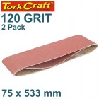 SANDING BELT 75 X 533MM 120GRIT 2/PACK