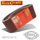 SANDING BELT 75 X 610MM 120GRIT 10/PACK