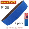 SANDING BELT ZIRCONIUM 75 X 533MM 120GRIT 2/PACK