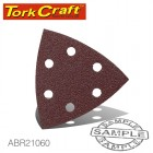 SANDING TRIANGLE VELCRO SHEET 60GRIT 94 X 94 X 94MM 5/PACK WITH HOLES