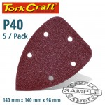 SANDING TRIANGLE 40 GRIT 140 X 140 X 98MM 5/PACK W/H HOOK AND LOOP