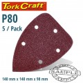 SANDING TRIANGLE 80 GRIT 140 X 140 X 98MM 5/PACK W/H HOOK AND LOOP
