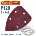 SANDING TRIANGLE VEL SHEET 120 GRIT 140 X 140 X 98MM 5/PACK WITH HOLES