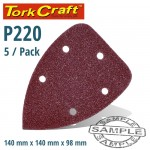 SANDING TRIANGLE 220 GRIT 140 X 140 X 98MM 5/PACK W/H HOOK AND LOOP