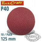 SANDING DISC 125MM NO HOLE 40 GRIT 10/PACK HOOK AND LOOP