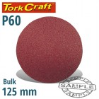 SANDING DISC 125MM NO HOLE 60 GRIT BULK HOOK AND LOOP