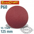 SANDING DISC 125MM NO HOLE 60 GRIT 10/PACK HOOK AND LOOP
