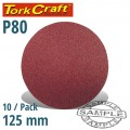 SANDING DISC 125MM NO HOLE 80 GRIT 10/PACK HOOK AND LOOP