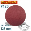 SANDING DISC 125MM NO HOLE 120 GRIT 10/PACK HOOK AND LOOP