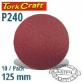 SANDING DISC VELCRO 125MM NO HOLE 240 GRIT 10/PACK