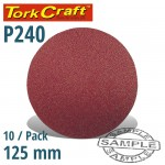 SANDING DISC 125MM NO HOLE 240 GRIT 10/PACK HOOK AND LOOP
