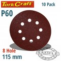 SANDING DISC VELCRO 115MM 60 GRIT WITH HOLES 10/PK