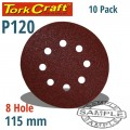 SANDING DISC VELCRO 115MM 120 GRIT WITH HOLES 10/PK