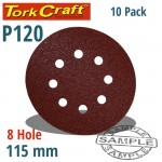 SANDING DISC 115MM 120 GRIT WITH HOLES 10/PK HOOK AND LOOP