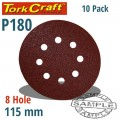SANDING DISC VELCRO 115MM 180 GRIT WITH HOLES 10/PK