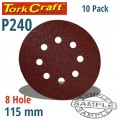 SANDING DISC VELCRO 115MM 240 GRIT WITH HOLES 10/PK