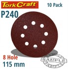 SANDING DISC 115MM 240 GRIT WITH HOLES 10/PK HOOK AND LOOP
