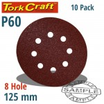 SANDING DISC 125MM 60 GRIT WITH HOLES 10/PK HOOK AND LOOP