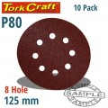 SANDING DISC VELCRO 125MM 80 GRIT WITH HOLES 10/PK