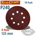 SANDING DISC VELCRO 125MM 240 GRIT WITH HOLES 10/PK