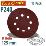 SANDING DISC 125MM 240 GRIT WITH HOLES 10/PK HOOK AND LOOP