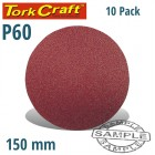 SANDING DISC 150MM 60 GRIT 10/PK HOOK AND LOOP