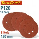 SANDING DISC 150MM 120 GRIT WITH HOLES 10/PK HOOK AND LOOP