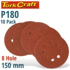 SANDING DISC 150MM 180 GRIT WITH HOLES 10/PK HOOK AND LOOP