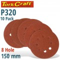 SANDING DISC 150MM 320 GRIT WITH HOLES 10/PK HOOK AND LOOP