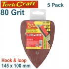 SANDING TRI - 80 GRIT 145 X 145 X 100MM 5/PACK FOR TCMS HOOK AND LOOP