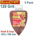 SANDING TRI - 120 GRIT 145 X 145 X 100MM 5/PACK FOR TCMS HOOK AND LOOP