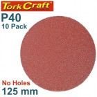 SANDING DISC PSA 125MM 40 GRIT NO HOLE 10/PK