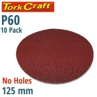 SANDING DISC PSA 125MM 60 GRIT NO HOLE 10/PK