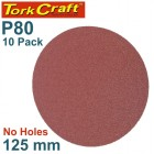 SANDING DISC PSA 125MM 80 GRIT NO HOLE 10/PK