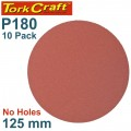 SANDING DISC PSA 125MM 180 GRIT NO HOLE 10/PK