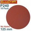 SANDING DISC PSA 125MM 240 GRIT NO HOLE 10/PK