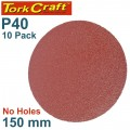 SANDING DISC PSA 150MM 40 GRIT NO HOLE 10/PK