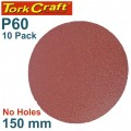 SANDING DISC PSA 150MM 60 GRIT NO HOLE 10/PK