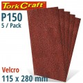 SANDING SHEET ORB 115 X 280MM 150 GRIT NO HOLES 5/PK HOOK AND LOOP