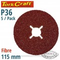 FIBRE DISC 115MM 36 GRIT 5/PACK