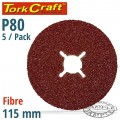 FIBRE DISC 115MM 80 GRIT 5/PACK