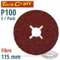 FIBRE DISC 115MM 100 GRIT 5/PACK
