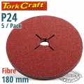 FIBRE DISC 180MM 24 GRIT 5 PACK