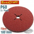 FIBRE DISC 180MM 60 GRIT 5/PACK