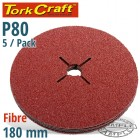FIBRE DISC 180MM 80 GRIT 5/PACK