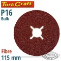 FIBRE DISC 115MM 16 GRIT BULK